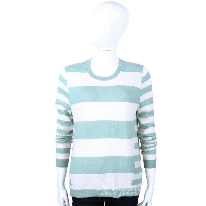 米蘭廣場 ALLUDE 40%CASHMERE 圓領條紋長袖針織上衣(淡綠X米白) 1440544-A3