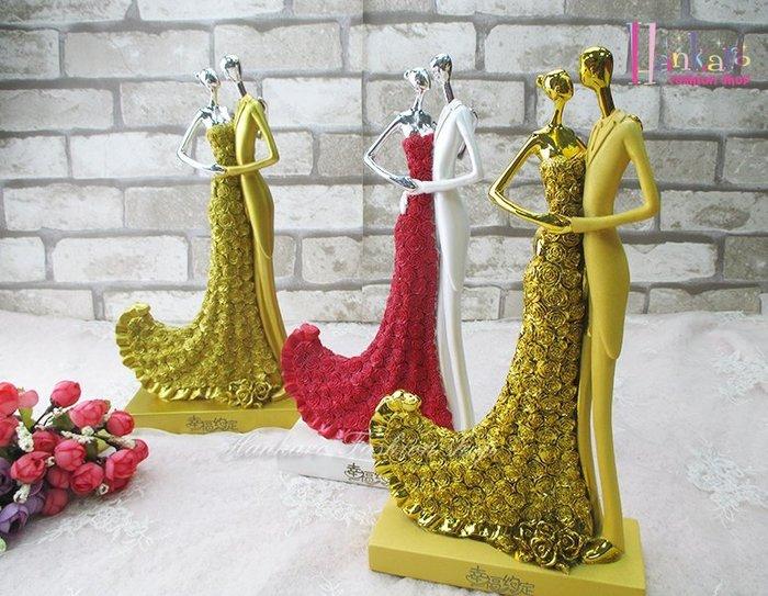 ☆[Hankaro]☆ 婚慶系列商品新郎新娘精緻浪漫婚禮相依相伴人型擺飾新婚禮品