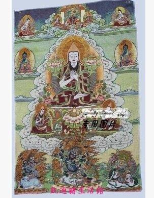 【凱迪豬生活館】西藏佛像唐卡刺繡絲綢刺繡尼泊爾唐卡畫彩繪宗喀巴大師像KTZ-201062