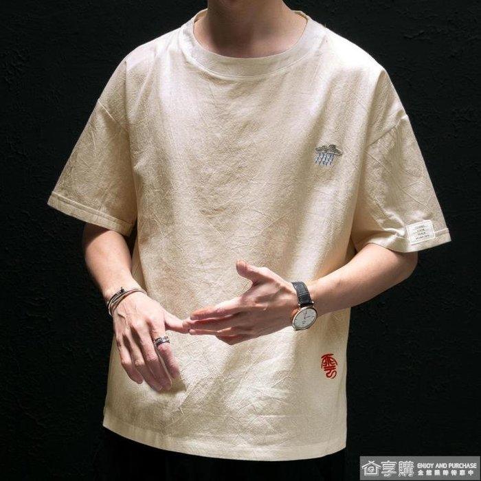 夏季中國風繡花亞麻短袖t恤男士加肥加大碼寬鬆薄款5分體桖棉麻潮