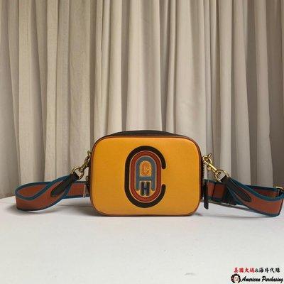 美國大媽代購 COACH 寇馳79278 新款黃色Camera 相機包 寬肩帶女包 經典C字徽章刺繡圖  美國代購