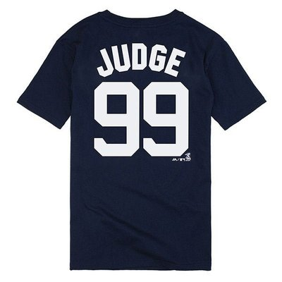 MLB Majestic-紐約洋基隊Aaron Judge背號99號T恤 丈青/條紋