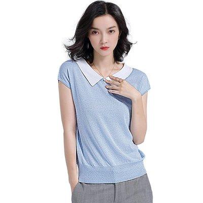 針織衫 短袖T恤(零碼賠售出清、恕不退換)-撞色娃娃領閃耀亮絲女上衣73xi36[獨家進口][米蘭精品]