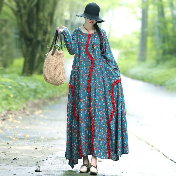 復古 連身裙 甜美 印花 長袖洋裝 中國民族風秋季棉麻寬松大碼文藝碎花點綴高腰連衣裙