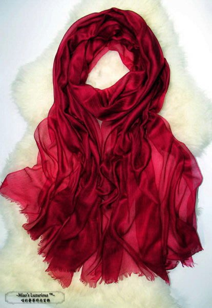 喜慶必備氣質酒紅-100% super fine cashmere300支pashmina Shahmina喀什米爾圍巾披肩送洗劑