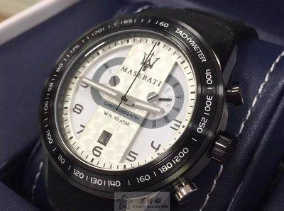 請支持正貨,瑪莎拉蒂手錶MASERATI手錶CORSA款,編號:R8871610001,白色錶面黑色皮革錶帶款