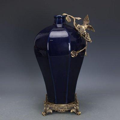㊣姥姥的寶藏㊣ 大清乾隆霽藍釉回流瓷鑲銅八棱梅瓶  官窯古瓷器手工古玩古董收藏