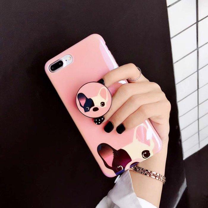 OPPO R15 R11S R11 R9S R9 PLUS 手機殼 日韓潮牌 鬥牛犬 可愛卡通  粉嫩藍光 氣囊支架