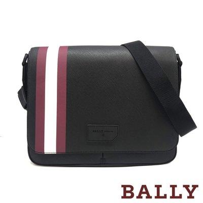 【台中米蘭站】全新品 BALLY STRAD 防刮牛皮紅白條紋掀蓋式斜背包 (6224079-黑)
