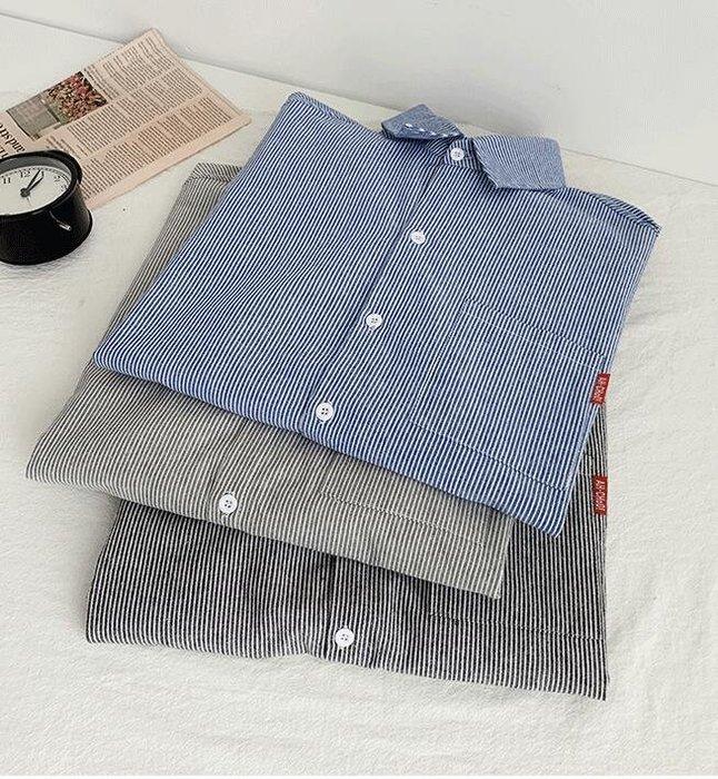 FINDSENSE X  男士 薄款條紋 短袖襯衫 男 上衣情侶襯衣潮襯衫