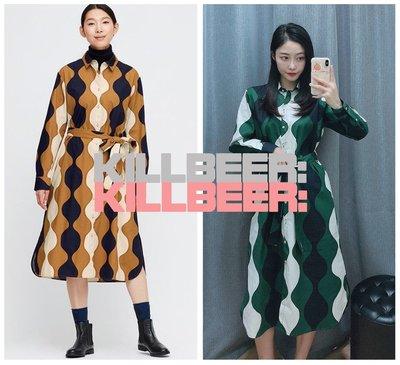 KillBeer:代購✈✈日本品牌UNIQLO優衣庫歐美復古設計感普普風撞色拼接排扣綁帶棉麻長洋裝連身裙122007