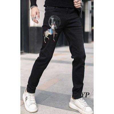 歐韓貨黑色牛仔褲男加絨2021冬季新款潮流時尚刺繡燙鉆小腳修身休閒長褲