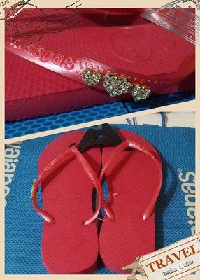 《全新~巴西帶回》巴西havaianas -女款-素色鞋帶加鑽人字拖鞋(尺寸37-38 *2雙)