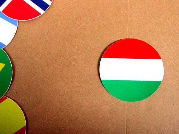 【國旗貼紙專賣店】匈牙利國旗圓形旅行箱貼紙/抗UV防水/Hungary/多國款可收集和客製