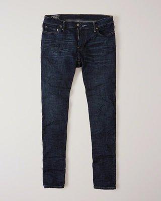 Maple麋鹿小舖 Abercrombie&Fitch * AF 男生深色SLIM牛仔長褲 * ( 現貨30x32號 )