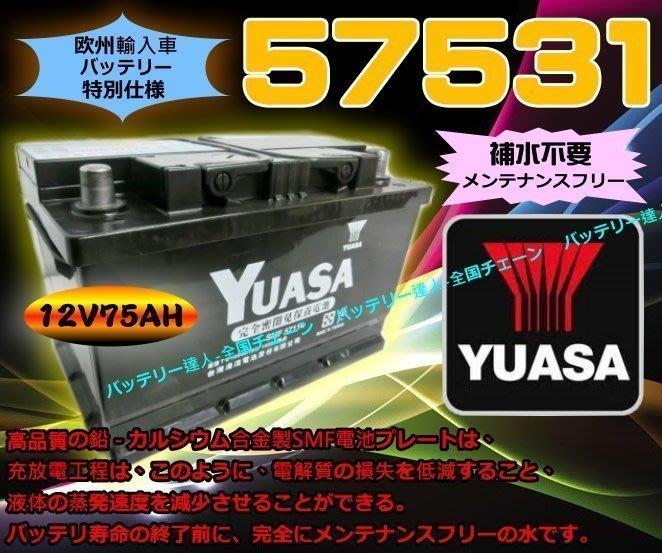 【鋐瑞電池】YUASA 湯淺 汽車電瓶 57531 VOLCO GOLF PASSAT 福斯 SAAB BMW