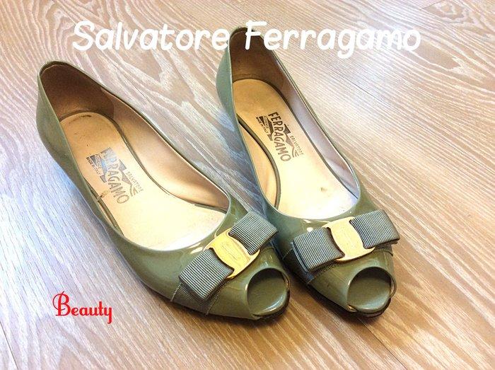 *Beauty*Salvatore Ferragamo灰色漆亮皮魚口低跟鞋 GR 7 1/2號