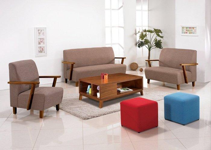 【DH】商品貨號n691-1《威納》胡桃色布面1.2.3木製沙發組(不含大茶几  飾品方凳)主要地區免運費