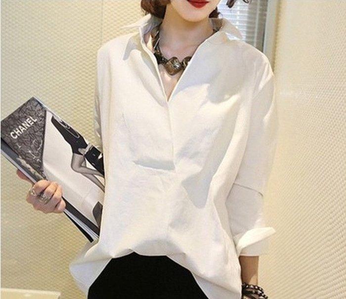 ❤Princess x Shop❤韓版新款白色襯衫女寬鬆百搭中長款長袖大碼露肩正韓國連線【DX623】