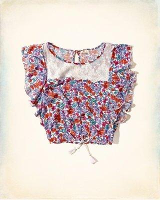 《Cupio》現貨 AF Hollister Ruffle-Sleeve Peasant 俏麗花卉蕾絲造型上衣(S)