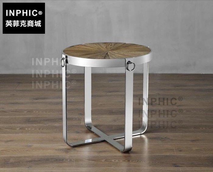 INPHIC-歐式簡約鐵木沙發圓茶几 工業風客廳陽臺創意休閒復古小咖啡桌-B款_S1910C