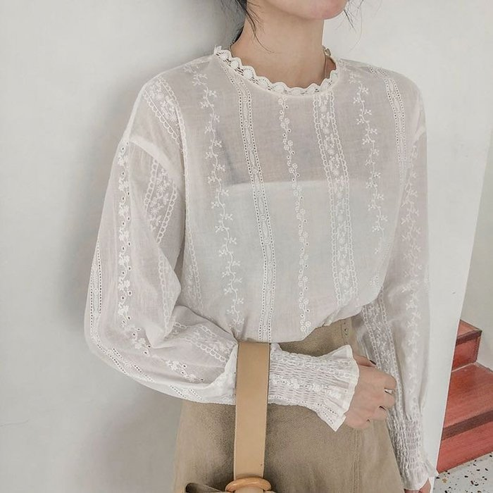 復古典雅荷葉領蕾絲長袖襯衫上衣