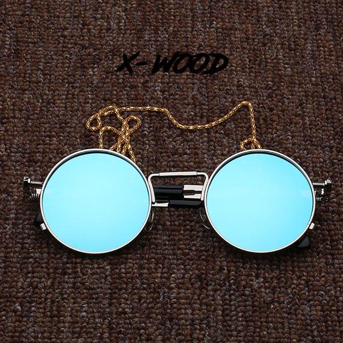 888利是鋪-復古圓形框墨鏡女金屬朋克風網紅街拍造型嘻哈偏光太陽鏡潮男眼鏡#復古眼鏡