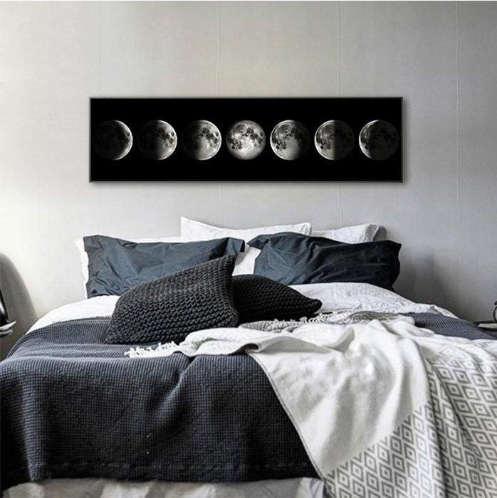 INHUASO 癮|画|所 月球月亮地球黑白裝飾畫工作室工業風掛畫北歐裝飾畫長方形掛畫長條形版畫現代簡約客廳橫幅掛畫