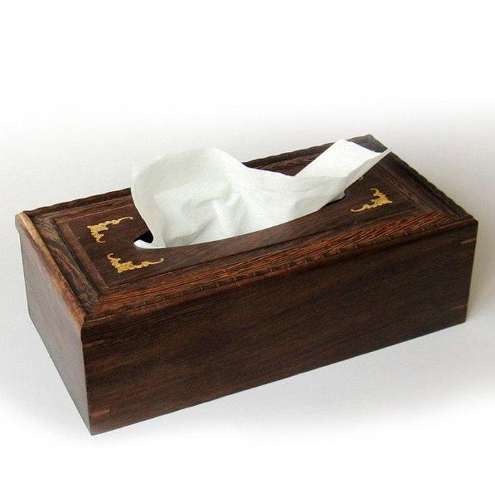 雞翅木鑲黃楊木雕刻抽紙盒 紅木工藝品家居紙巾盒 客廳創意
