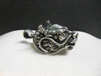 (絕)925純銀墜子~厚實重量款純銀龍墜純銀龍頭-特殊銀工藝製作-A103 高雄市