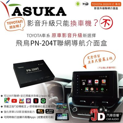 【JD汽車音響】ASUKA 飛鳥聯網導航介面盒 TOYOTA車系主機專用 PN-204T PN-204P PN-204N