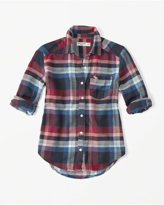 天普小棧】a&f abercrombie&fitch plaid flannel shirt格紋襯衫KIDS 15/16