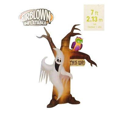 X射線【W588406】213cm南瓜幽靈貓頭鷹充氣,萬聖節/萬聖佈置/充氣擺飾好收納/萬聖充氣/幽靈