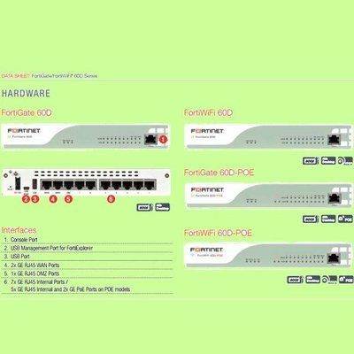 5Cgo【權宇】FortiNet防火牆FortiGate-60D(UTM一年)WAN*1 LAN*7 DMZ*1 含稅