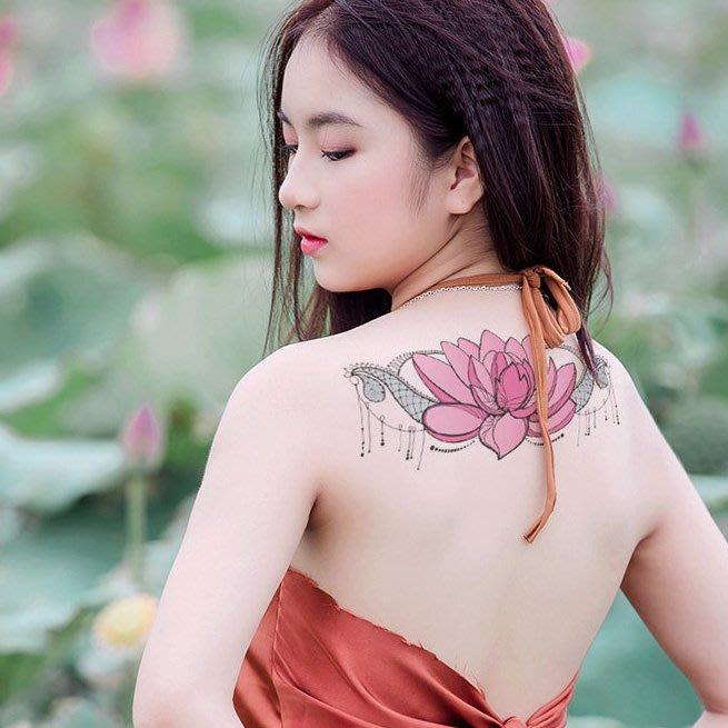 【萌古屋】蓮花寶石胸部胸下手臂大圖 - 男女防水紋身貼紙原宿刺青貼紙BC-020 K72