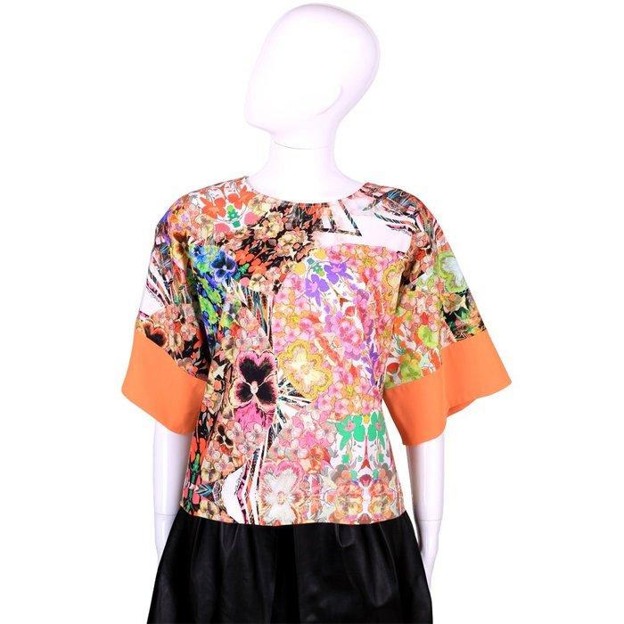 米蘭廣場 CLASS roberto cavalli 橘色多彩印花短袖上衣 1520569-17