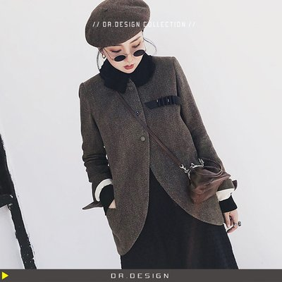 ►DR.DESIGN│DR31046-強推!暗黑做舊復古paul harnden風 中世紀 人字紋 超暖和 西裝外套