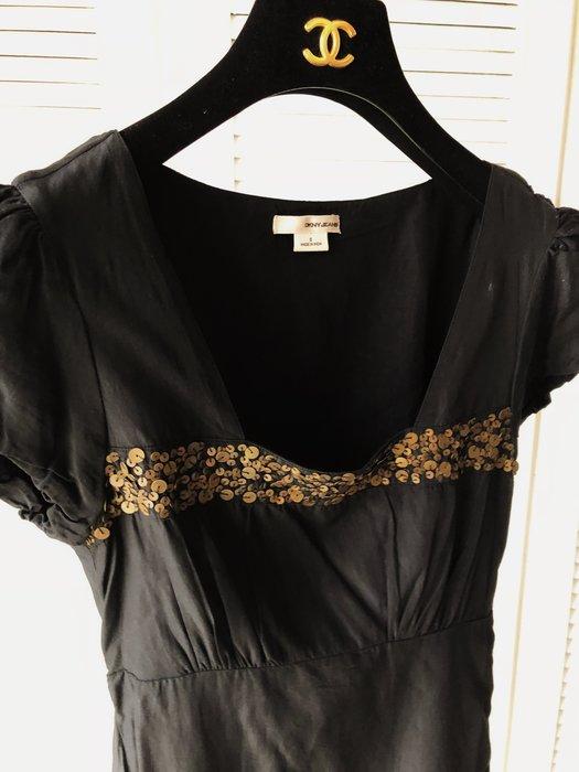 DKNY JEANS 黑色金屬亮片短袖洋裝
