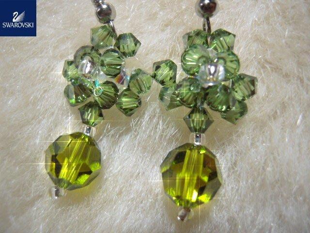 ※水晶玫瑰※ SWAROVSKI 地球珠水晶 耳勾式耳環(DD440)