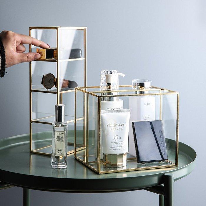MAJPOINT*銅條玻璃 生活收納盒 北歐 輕奢華 攝影美器 網美 客廳 辦公桌 美妝化妝保養品 文具分隔透明整理收納