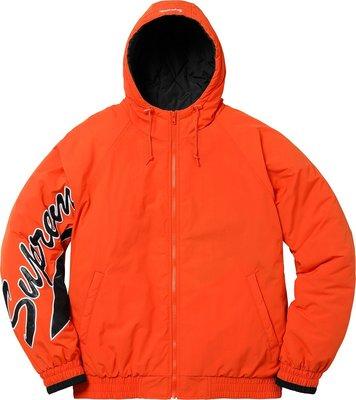 【紐約范特西】現貨 2018SS SUPREME  SLEEVE SCRIPT JACKET 草寫LOGO橘色鋪棉外套