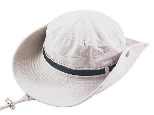 【二鹿帽飾】Sinds / 布水洗牛仔漁夫帽/ 男女款式/皮帶款-卡其色 /登山專用帽.賞鳥帽