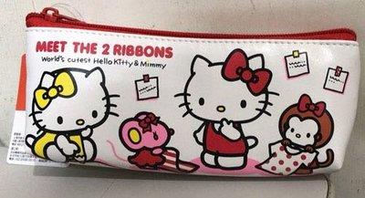 三麗鷗 HELLO KITTY 凱蒂貓 皮質三角筆袋 鉛筆袋 收納袋 置物袋 拉鍊袋