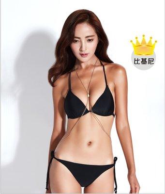 歐美比基尼 糖果色素色純色bikini 經典高檔附可抽取襯墊款 綁帶細繩性感沙灘 三點式泳衣 渡假溫泉游泳 M08