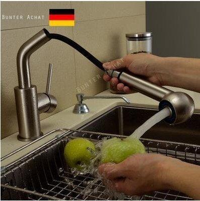 【優上精品】德國BUNTERACHAT全銅冷熱抽拉式廚房水龍頭水槽洗菜盆拉絲(Z-P3195)