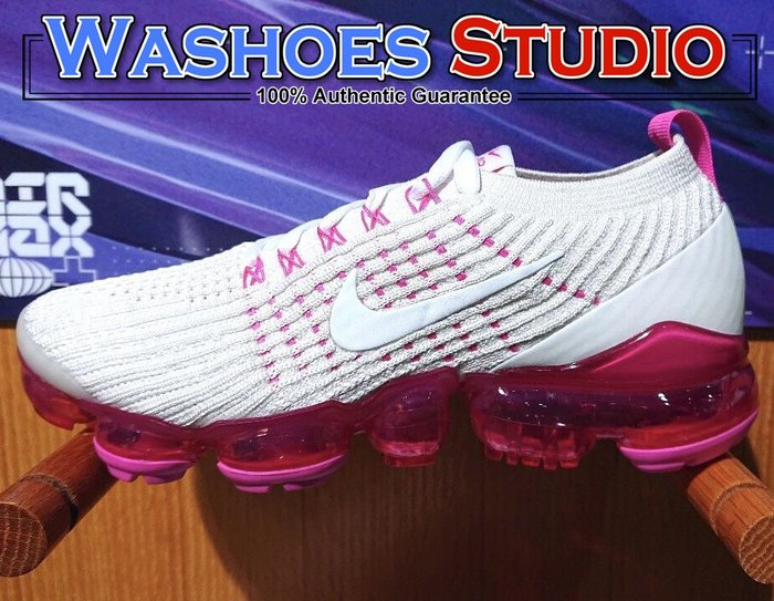 Washoes Nike Air VaporMax Flyknit 3.0 白 粉紅 AJ6910-005 女鞋 慢跑鞋