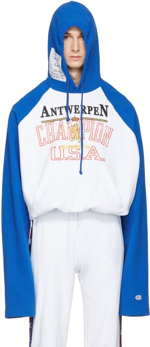 vetements Blue Champion Edition Antwerpen Hoodie