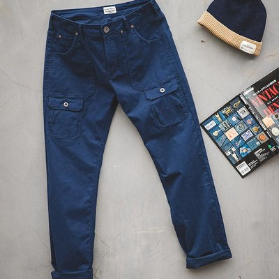 拓荒者革製所。美式復古藏青色工裝褲休閑阿美咔嘰多口袋純色直筒哈倫長褲男
