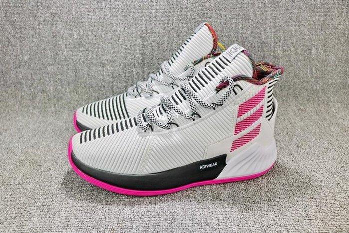 Adidas D Rose 9 黑白粉 經典 編織 中筒 休閒運動籃球鞋 男女鞋 BB7658