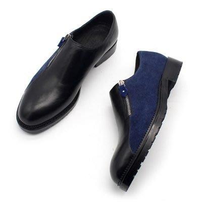 皮鞋 真皮休閒拼接套腳鞋-時尚撞色側邊拉鍊男鞋73kv12[獨家進口][米蘭精品]